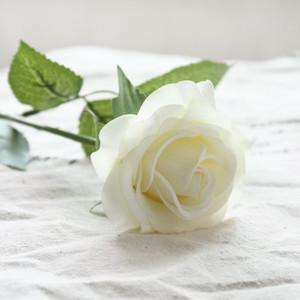 1 unid Mejor Látex Flores Artificiales Real Touch Wedding Party Roses Flores Falsas Boda Novia Ramos Blanco Rosa para la Decoración Del Partido