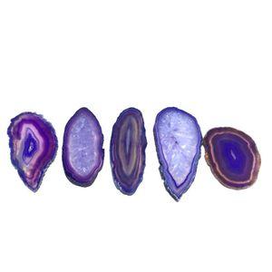 Рейки исцеление натуральный камень фиолетовый небольшой Агат ломтик кулон сырой кварц камень разъем бисера подвески для украшения