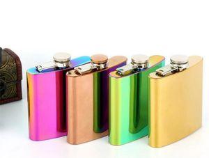 Fiaschetta colorata dell'acciaio inossidabile di placcatura dell'arcobaleno 6oz Placca portatile del vino di Flop del whiskey della placca creativa 4 colori