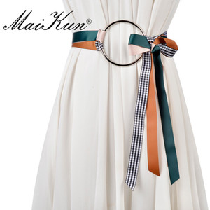 venta al por mayor Self Tie Cinturones para Mujeres Cinturón Anillo Grande Plateado Círculo Decoración Cummerbund Cinturón Femenino