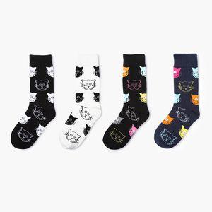 4 Çift Kadınlar Mutlu Çorap Komik Kedi Yüz Siyah Beyaz Kadın Kısa Çorap Kış İlkbahar Moda sevimli hayvan Kızlar Pamuk Çorap Meias