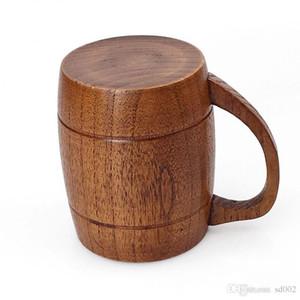 Einfacher Retro- hölzerner Teetasse-praktischer Umweltschutz-Monoschicht-hölzerne Schalen-sichere einfache Trage Drinkware mit Griff 22 5xw X