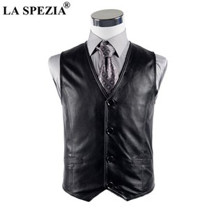 Pelle LA SPEZIA Gilet Uomo Casual Nero Gilet maschile Pulsante Genuine Leather autunno Vintage Designer Classic maniche Giacca