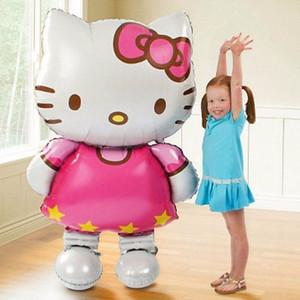 116 * 68 cm Büyük Boy Hello Kitty Kedi Folyo Balon / 80 * 48 cm Orta Karikatür Düğün Doğum Günü Partisi Dekorasyon Şişme Hava Balonu çocuk