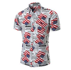 America Flag que imprime las camisas masculinas Tops de manga corta Summer Beach Casual Wear