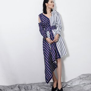 2018 Spring and Autumn Europe Station Striped stitching asymmetric strapless irregular cut ladies dress personality wild