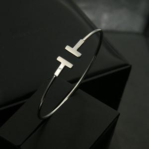 Pulsera mujer nouvelle qualité de luxe mode femme bijoux bijoux en acier inoxydable ouverte manchette ouverte double t bracelet bracelet or argent rose or