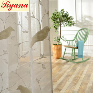Bird Pattern 3D تطريز Drape Sheer Curtain frick Tulle Voile Curtent Window Rustic Fresh Cotton Bedroom Curters WP004 * 15