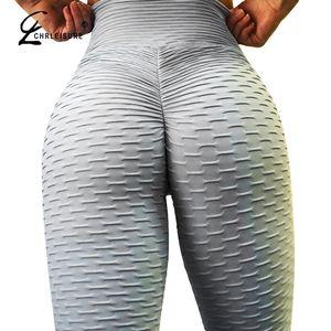 CHRLEISURE Sexy Push Up Workout Leggings Frauen Hohe Taille Enge Leggins Mujer Wrinkle Saugfähige Atmungsaktive Frauen Leggings S18101502