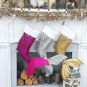 Christmas Ornament Mermaid Stockings Gift Wrap Christmas Tree Pendant Paillettes Sirena coda calze Sacchetto regalo Nuovo stile