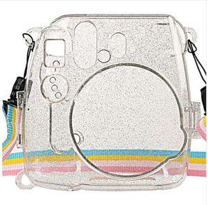 Waterlowrie saco de câmera brilhando tampa de plástico transparente proteger caso para Fujifilm Fuji Instax Mini 9 8 8+ Instantâneo com cinta