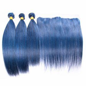 Soyeux Droite Cheveux Humains Trame 3 pcs Avec Dentelle Frontale Pur Bleu Couleur Cheveux Bundles Extensions Avec Oreille À Oreille Dentelle Frontale