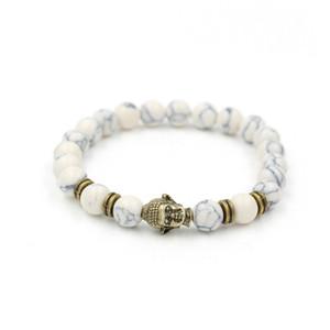 White Howlite Stone Buddha Charm Bead Bracelet Bangle Rope Chain Natural Stone Men Elastic Bracelet Pulsera