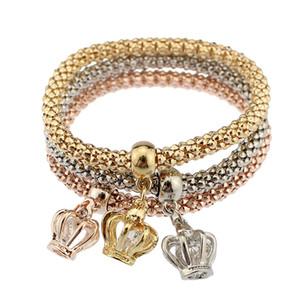 I braccialetti di fascino della corona 3color regolano il braccialetto di cristallo del filo di stirata della corona di zirconi cubici di cristallo per i monili di modo elastici dei womenmens