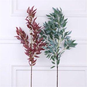 Sahte Uzun Kök Willow Yaprak Yeşillik Simülasyon Yeşil Vitrinler Düğün Dekoratif Ev Bitkiler için Bitkiler