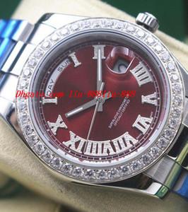 Relógios de luxo Red Dial Diamante Algarismos Romanos Movimento Automático suave deslizamento Moda Masculina Relógio de Pulso