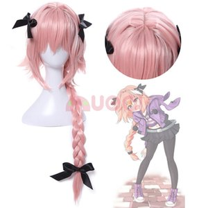 ePacket free shipping >Fate Apocrypha FGO Astolfo Bradied Styled Long Pink Cosplay Wig Free Bow Knot