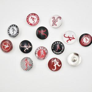 12 Styles Alabama boutons Snap 18MM ronde en verre College Sports d'équipe Charms d'accrochage de haute qualité snap Accessoires Pour Collier Bracelet Boucle d'oreille