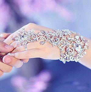 In Stock Sliver Crystal Rhinestones Diamonds Bracelet Ring Wristband Bridal Jewelry Bracelet Wedding Party Bridal Accessories