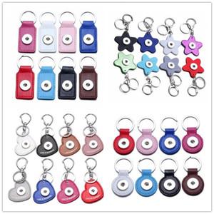 4 estilos de cuero de la PU corazón llavero Noosa Chunks 18mm botón a presión llaveros llaves anillo de la joyería