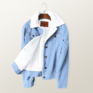 2018 Inverno Quente Fur Jeans Mulheres Jaqueta Bomber Jaqueta Azul Denim Jaqueta Casaco com Completa Forro Quente Frente Botão Plana Pockets