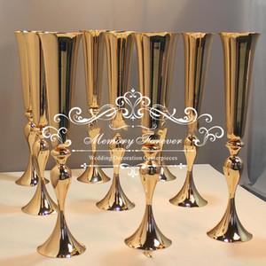 Свадебные украшения золото Центральным вазы 75 см высотой цветок ВАЗа серебряный белый труба ваза для искусственных цветочных композиций