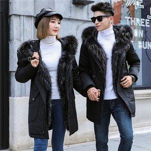 Kış Parkas Mens Kadınlar Aşağı Ceket Uzun Palto Kürk Hood Kar Giyim Palto Beyaz Ördek Aşağı Üstleri Artı Boyutu Giyim 4XL 5XL
