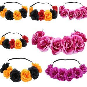 Sıcak satmak Hairband Çelenk Saç Yaylar Bohemia El yapımı Artificialseaside çiçek Taç Düğün Gelin Headdress Çelenk T6I061 hairband gül