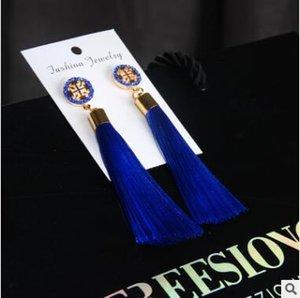 Kaliteli yeni moda marka bohemian handwoven topu uzun püskül elmas küpe 9 renkler seçebilirsiniz