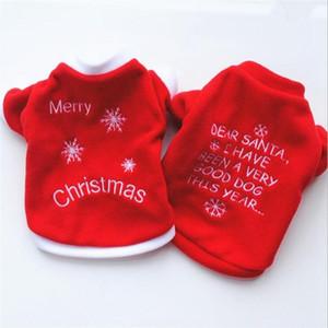 Cão de Estimação bonito Presentes de Natal Roupas Roupas de Cão Vermelho Roupas de Lã Polar T camisa Macacão Filhote de Cachorro Traje Outfit Pet Supply