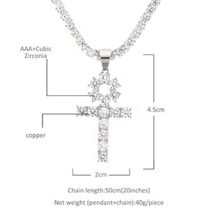 Hip Gold Color Plated Iced Jewelry Tennis Pendant Cross Ankh Necklace Silver Zircon Chain Set Men With Hop Out Drjoe