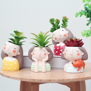 Etli Bitki Pot Sevimli Kız Çiçek Ekici Saksı Tasarım Güzel Küçük Kızlar Ev Bahçe Bonsai Tencere Doğum Günü Hediye Oluşturmak