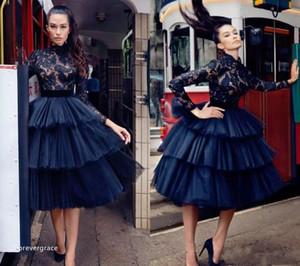 2018 네이비 블루 레이스 차 길이 칵테일 드레스 높은 목 긴 소매 홀리데이 클럽 동창회 가운 Arabic Gothic