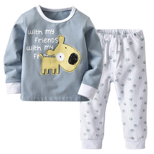 New children's home service Small children's sleepy sanding cotton Christmas set Grey printed nightwear two-piece E16