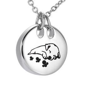 ZZL123 Schlafen Hund Feuerbestattung Halskette Runde Form Edelstahl Pet Memorial Urne Anhänger Begräbnis Andenken Schmuck Für Asche