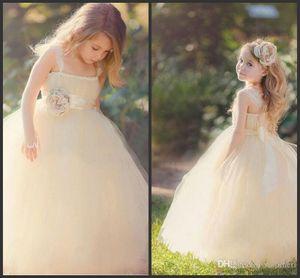 2018 New Cute Tulle Flower Girl' Dresses Lace Ruffles Floral Sash Floor Length Little Girl's Bridal Wedding Party Dresses Vestido 620