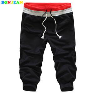 BONJEAN длинные брюки Drawstring дизайн Дмен досуг брюки сплошной цвет летние мужчины свободные деятельность тренировочные брюки мешковатые бегуном