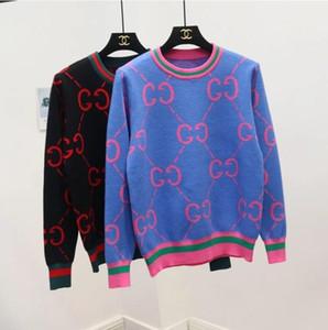 Womens Inverno blusas manga comprida Womens Vintage Knitwear Pullovers alta qualidade Painéis Carta Imprimir Tops camisola de malha elegante