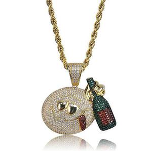 Мужчины CZ Emoji лицо с бутылкой вина пьяница золотой кулон Bling Bling микро проложить цирконий ожерелье 18K позолоченные ювелирные изделия ж / xgift коробка