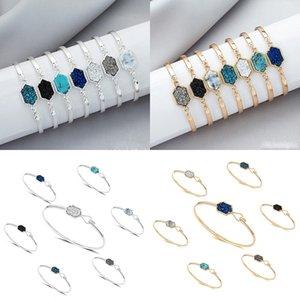 Novo Designer Geométrico druzy bangle luxo falso rômbico Natural drusy pedra charme pulseiras para as mulheres Senhoras moda Jóias