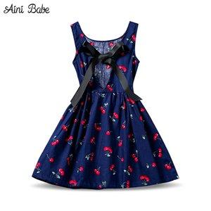 Aini Babe stampa floreale Girl Dress A-line 2017 Marca Baby Kid bambini abbigliamento senza maniche abiti per bambini per le ragazze festa di festa