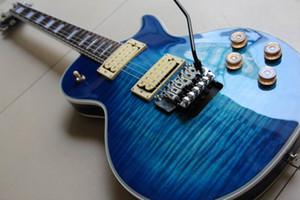 Frete Grátis New Gibsonlpcustom Guitarra Elétrica Com Floyd Rose Tremolo Mogno Corpo / Pescoço Rosewood Fretboard Em Blue120925
