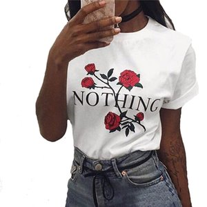 New Fashion Womens Rose Print T Shirt 2017 Estate Floral Flower Stampa girocollo Casual Top manica corta Tee Shirt Top Donna Abbigliamento