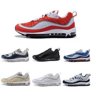 Nike air max 98 airmax 98 Новые поступления с коробкой Мужская кроссовки Кроссовки для мужчин Спортивная обувь 98 OG Gundam Black Размер US7-11 Пешеходная прогулочная обувь