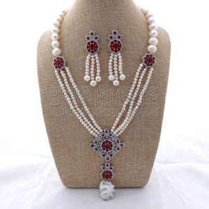 "S011409 20 ""3Strands White Pearl CZ Necklace Earrings Set"