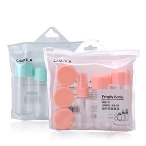 8 unids Conjunto de Viaje Botellas de Maquillaje Vacías Botellas de Aerosol de Perfume Recargables Tarros de Plástico Transparente Cosmético Crema de La Cara Botellas