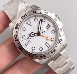 الجملة - الساعات الفاخرة 40MM الاتصال الهاتفي الأبيض Explorer II Ref.216570 316L الفولاذ المقاوم للصدأ آلات أوتوماتيكية عالية الجودة