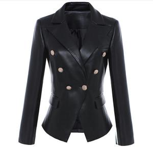 Neue Stil Top Qualität Original Design Frauen Slim Klassische Leder Blazer Jacke Metall Schnallen Zweireiher Schwarz Motorradjacke Mantel