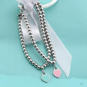 Ht vendita Pand925 sterling silver smalto blu a forma di cuore ciondolo bracciale rotondo buddha perline braccialetto ornamenti delle donne marchi di gioielli regalo
