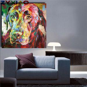 ZYXIAO Big Size Ölgemälde Kunst tier bunten hund Wohnkultur auf Leinwand Moderne Wandkunst Kein Rahmen Drucken Poster bild ys0060